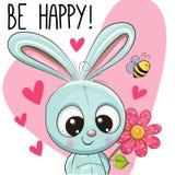 Счастливая поздравительная открытка с кроликом иллюстрация вектора
