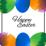 Счастливая поздравительная открытка с яичками, дизайн пасхи вектора Иллюстрация вектора