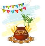 Счастливая поздравительная открытка фестиваля Pongal на юг индийская жать Стоковое Изображение RF