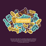 Счастливая поздравительная открытка Хануки с элементами нарисованными рукой и литерность на темной предпосылке Menorah, Dreidel,  иллюстрация вектора