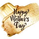 Счастливая поздравительная открытка хода золота дня матерей Красивый сияющий плакат Пятно краски текстуры акварели золота вектора Стоковое Изображение RF