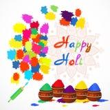 Счастливая поздравительная открытка holi с цветом брызгает, pichkari и мандала также вектор иллюстрации притяжки corel Стоковые Фото