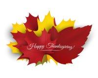 Счастливая предпосылка благодарения с красочными листьями осени вектор Стоковое фото RF