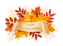 Счастливая предпосылка благодарения с красочными листьями осени Стоковые Изображения