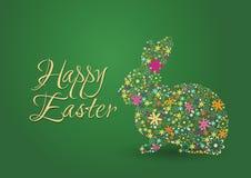 Счастливая предпосылка зеленого цвета пасхи с кроликом & цветками Иллюстрация штока