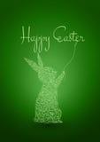 Счастливая предпосылка зеленого цвета пасхи с кроликом Иллюстрация штока