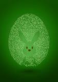 Счастливая предпосылка зеленого цвета пасхи с яичком & кроликом Иллюстрация вектора
