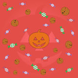 Счастливая предпосылка зеленого цвета хеллоуина иллюстрация вектора