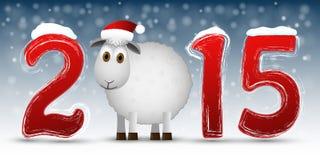 Счастливая предпосылка Нового Года 2015 с овцами Стоковая Фотография RF
