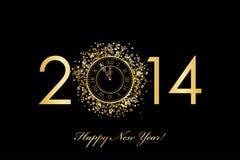 Счастливая предпосылка Нового Года 2014 с часами золота Стоковая Фотография RF