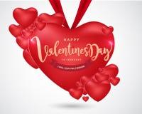Счастливая предпосылка дня ` s валентинки, иллюстрация Design7 вектора Стоковое Изображение