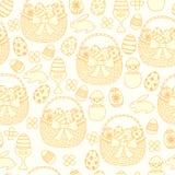 Счастливая предпосылка пасхи безшовная Корзины, яичка, кролики Стоковое Изображение RF
