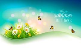 Счастливая предпосылка с цветками, трава летних отпусков иллюстрация штока