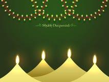 Счастливая предпосылка торжества Diwali с масляными лампами иллюстрация вектора