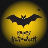 Счастливая предпосылка хеллоуина с летучей мышью, пауком и луной Стоковое фото RF