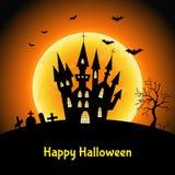 Счастливая предпосылка хеллоуина с замком и луной Стоковое Изображение RF