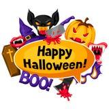 Счастливая предпосылка хеллоуина с символами праздника шаржа Приглашение party или поздравительная открытка Стоковая Фотография