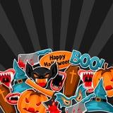 Счастливая предпосылка хеллоуина с символами стикера праздника шаржа Приглашение party или поздравительная открытка Стоковое фото RF