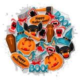 Счастливая предпосылка хеллоуина с символами стикера праздника шаржа Приглашение party или поздравительная открытка Стоковая Фотография RF