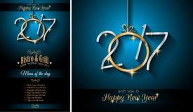 Счастливая предпосылка шаблона меню ресторана Нового Года 2017 Стоковое фото RF