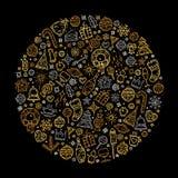 Счастливая предпосылка элементов золота Нового Года для поздравительной открытки Стоковые Изображения RF