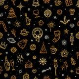 Счастливая предпосылка элементов золота Нового Года для поздравительной открытки Стоковые Фотографии RF