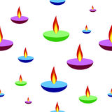 Счастливая предпосылка Diwali с лампами увольняет свеча, безшовная картина Стоковые Фотографии RF