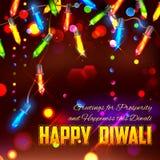 Счастливая предпосылка Diwali украшенная с светом иллюстрация штока