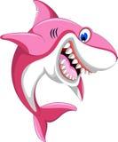 Счастливая розовая акула шаржа Стоковая Фотография