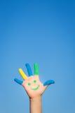 Счастливая рука smiley Стоковое Изображение RF