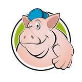 Счастливая свинья шаржа с большими пальцами руки вверх Стоковое Изображение