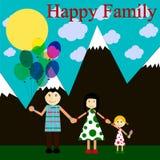 Счастливая семья в горах Стоковые Фотографии RF