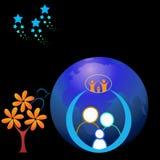Счастливая семья 2 в мире с звездой Стоковые Изображения