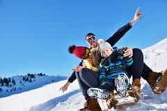 Счастливая семья едет розвальни в древесине зимы, жизнерадостных развлечениях зимы Стоковое Фото