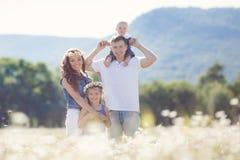 Счастливая семья на поле зацветая маргариток Стоковое Изображение RF