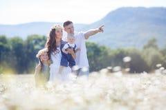 Счастливая семья на поле зацветая маргариток Стоковая Фотография
