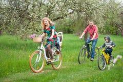 Счастливая семья на саде велосипедов весной Стоковые Фотографии RF