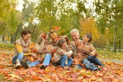 Счастливая семья ослабляя Стоковые Изображения