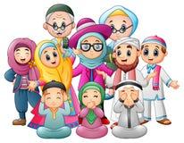 Счастливая семья празднует для Eid Mubarak бесплатная иллюстрация