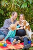 Счастливая семья при их беременная мать имея пикник в парке Стоковое фото RF