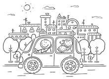 Счастливая семья путешествуя автомобильное черно-белым иллюстрация штока