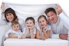 Счастливая семья с детьми Стоковые Фото