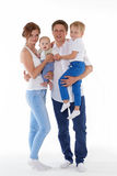 Счастливая семья с 2 младенцами Стоковая Фотография RF