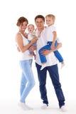 Счастливая семья с 2 младенцами Стоковые Фотографии RF