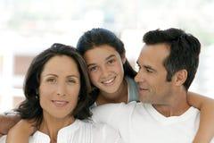 Счастливая семья с одним ребенком стоковые фотографии rf