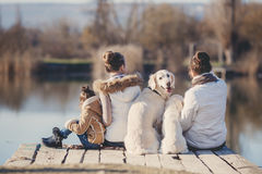 Счастливая семья с любимчиками около озера Стоковая Фотография