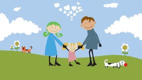 Счастливая семья тратя время outdoors. Стоковые Изображения