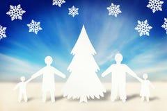 Счастливая сильная семья в празднике рождества Стоковые Фотографии RF