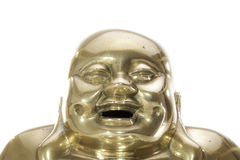 Счастливая смеясь над сторона традиционного латунного Будды стоковые изображения rf