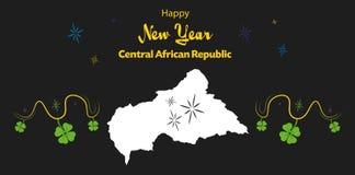 Счастливая тема Нового Года с картой центрально-африканского Re бесплатная иллюстрация